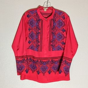 J.Crew Long-Sleeved Red Blue Dress Blouse Paisley